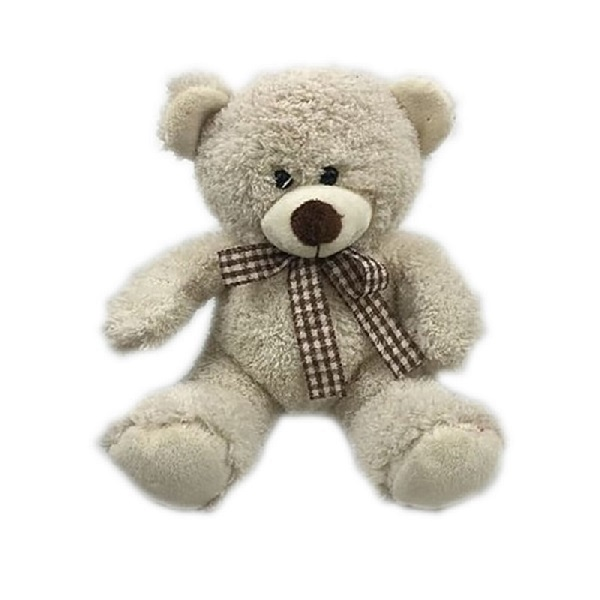 Customized ribbon stuffed Personalized grey color plush teddy bear toys